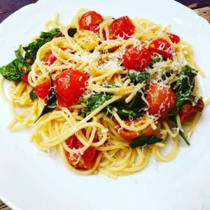 Spaghetti with Cherry Tomatoes & Basil