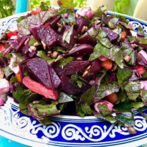 Beet Salad with Beet Greens & Feta
