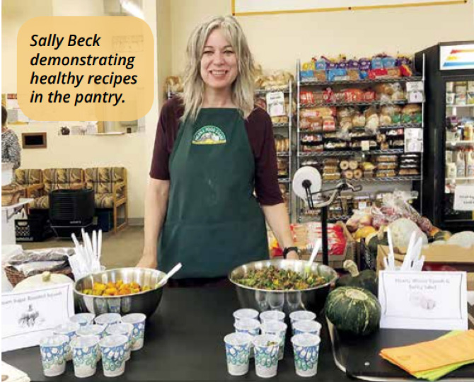 Sally Beck Demonstrating Healthy Recipes